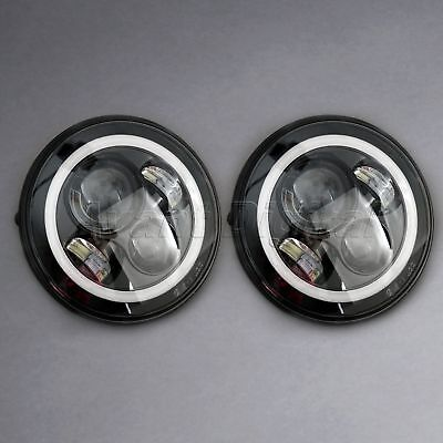 "2x 7"" Round LED Halo Angle Eyes Headlights For Jeep Wrangler JK 4 Door Unlimited"