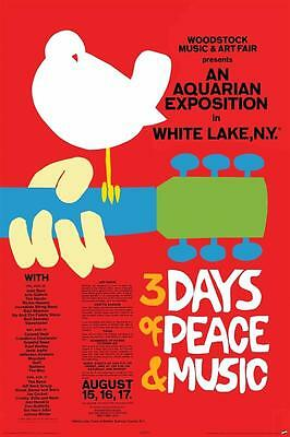 WOODSTOCK CONCERT POSTER 3 Days of Peace and Music 24x36 Poster