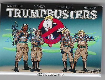 HILLARY CLINTON  TRUMPBUSTERS POLITICAL CARTOON BUTTON  3 IN. by R J MATSON