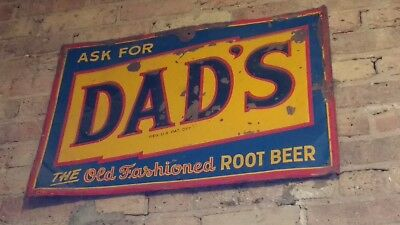"""Vintage Dad's Old Fashioned Root Beer Advertising Metal Sign 27"""" x 19"""""""