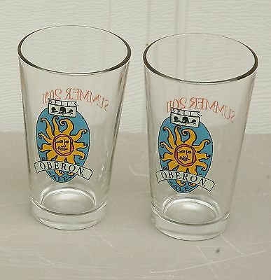 Lot of 2 Bell's Beer Oberon Ale Pint Glasses Summer 2011 NOS plus Coasters