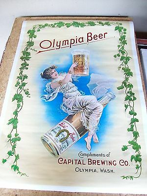 Vintage Olympia Beer Victorian Girl Poster Sign NOS 1976