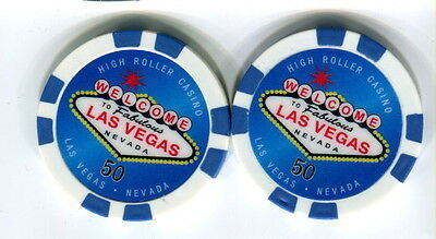 $50 Las Vegas Welcome to Las Vegas Nevada Poker Chip - Quantity 2 Uncirculated