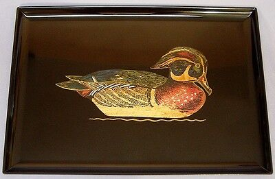 Vintage Couroc Hand Inlaid Serving Tray Wood Duck