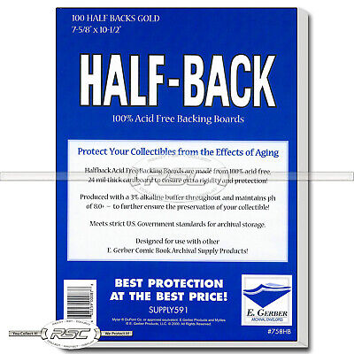 100 - Half-Back Gold 24pt Comic Book Backing Boards by E. Gerber - 758HB