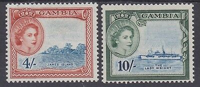 Gambia 1953 Qeii Pictorial 4/- And 10/- Mnh **