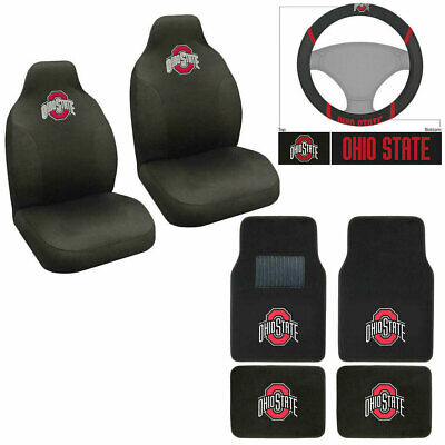 NCAA Ohio State Buckeyes Car Truck Seat Covers Floor Mats Steering Wheel Cover