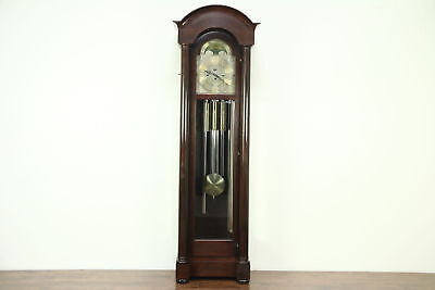 Mahogany Antique Grandfather Long Case, Clock, 5 Tube Chime, Signed Herschede