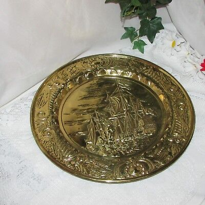 "Large Embossed Brass Wall Plaque Ship 14"" Round Vintage Nautical Decor England"