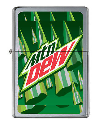 Mt. Mountain Dew Soda Pop Flip Top Lighter Brushed Chrome with Vinyl Image.