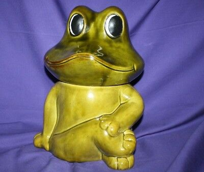 Vintage Neil the Frog 1970's Sears Avocado Green Pottery Cookie Jar