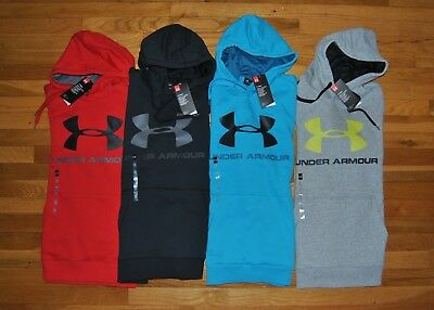 NWT Mens UNDER ARMOUR Fitted Hoodie Sweatshirt Black Blue Red Gray M L XL 2XL