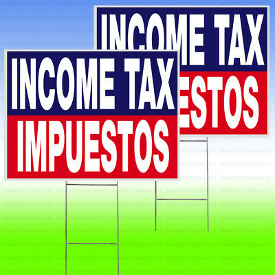 """2 PACK - INCOME TAX IMPUESTOS 18""""x24"""" Yard Sign & Stake outdoor Lawn bb"""