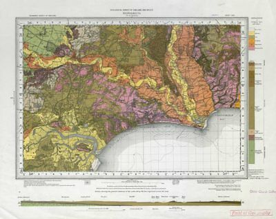 Bournemouth geological survey sheet 329 Dorset Poole Christchurch 1962 old map