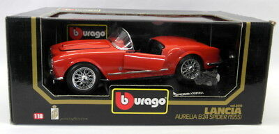 Burago 1/18 Scale Diecast 3010 Lancia Aurelia B24 Spider 1955 Flat Red Model Car