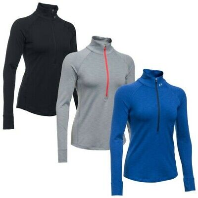 Under Armour Womens ColdGear Half Zip Running Top New Ladies Training Pullover