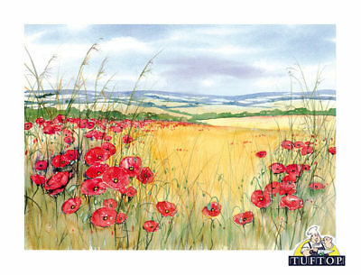 Tuftop Glass Chopping Board Poppies Scenic Red Poppyfield Kitchen Worktop Saver