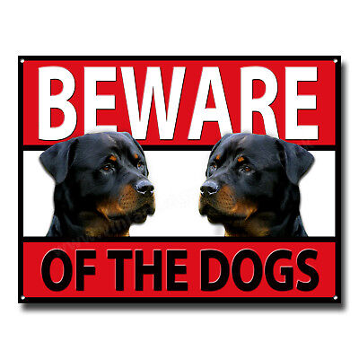 Rottweiler Beware Of The Dogs Metal Sign,security,warning,guard Dog Sign.a3