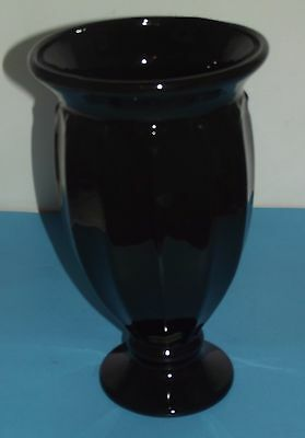 """Black Flower Glass Vase Haeger 12""""x7"""" Art Deco Extra Large Size 2001 with Tag"""