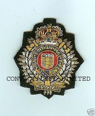 Official Royal Logistic Corps RLC Officers Cap / Beret Badge ( Wire Embroided