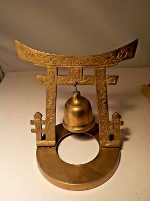 brass gold tone gong bell  on stand ornate asian #5624