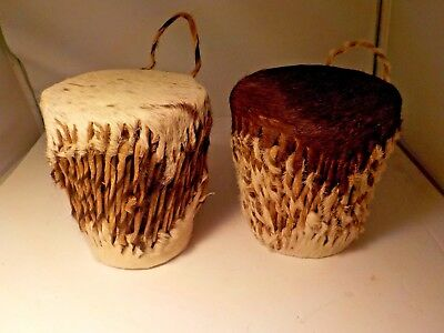 """set lot of 2 small africian drums fur covers handmade 4""""   #5687"""