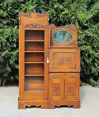 Solid Tiger Oak Victorian Side By Side Secretary Desk China Curio Cabinet c1890s