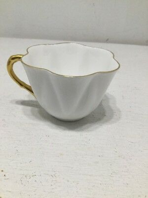 SHELLEY   TEA CUP Fine Bone China England Ivory With Gold Rim and Handle