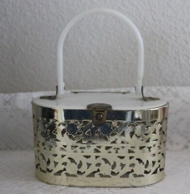 Vintage Pamart Punched Gold Metal Box Purse W/ White Plastic Handle / Top