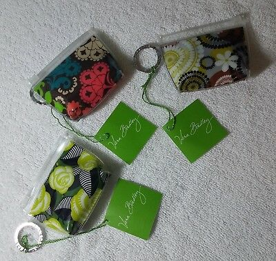 Vera Bradley Zippidy Keychain Lot of all 3 Lola Cocoa Moss La Neon Rose NWT