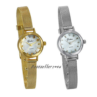 Women Ladies Girls Quartz Wrist Watches Small Dial Mesh Stainless Steel Bracelet