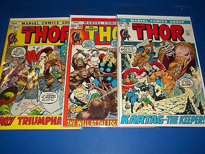 The Mighty Thor #194,195,196 Bronze Age Run of 3 VG+/Fine-