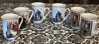 Vintage 1985 Norman Rockwell Museum Nautical Collector Mugs set of 6. Gold Trim
