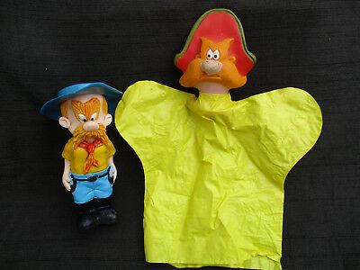 VINTAGE 1960s-1970s VINYL YOSEMITE SAM LOONEY TUNES CHARACTER DOLL & PUPPET
