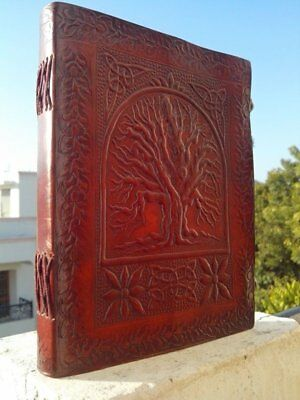 "FABIYANO Large Embossed Tree 9"" Leather Journal 2 Lock Diary Thought Book Bound"