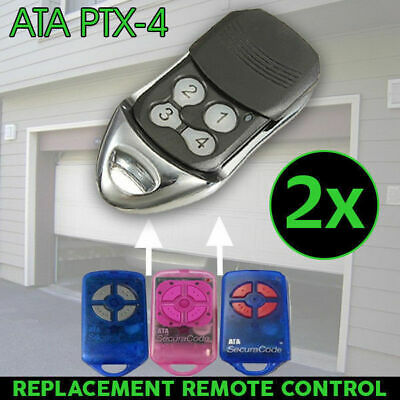 2x Remote Control For ATA PTX-4 SecuraCode Compatible Garage Door Replacement