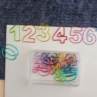 10Pcs Creative Number -shaped Paper Clips Metal Colored File Binder Strong Grip