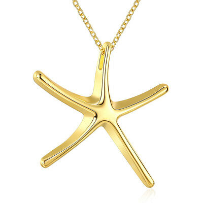 Elegant 18k 18CT Yellow Gold Filled GF Sea Star Pendant Necklace N-A722