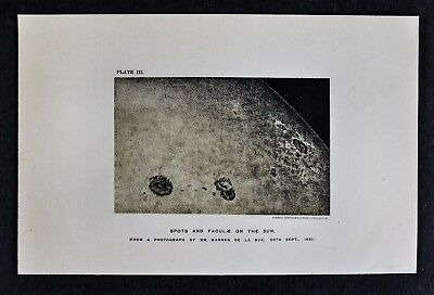 1897 Astronomy Print  - Sun Spots - Sunspots Solar Flare - Lithograph Star Map