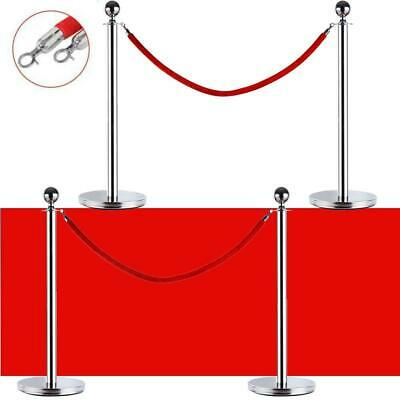 4 PCS Velvet Rope Stanchion Silver Color Post Crowd Control Queue Pole Barrier