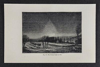 1897 Astronomy Print - Zodiacal Light in 1874 - Star Chart Map Woodcut