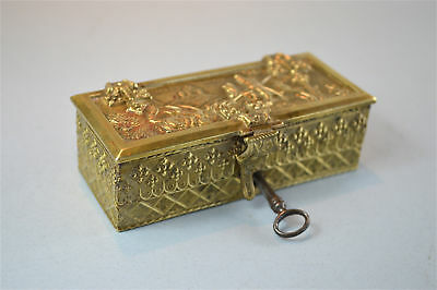 Beautiful Arts and Crafts small brass casket St.George and the dragon box