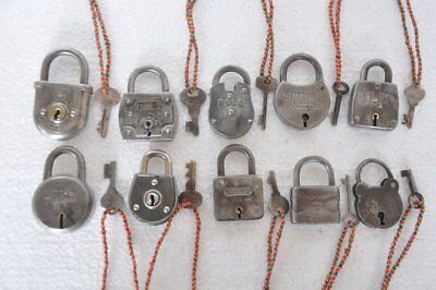 10 Pc Old Iron Handcrafted Unique Shape Different Padlocks , Rich Patina