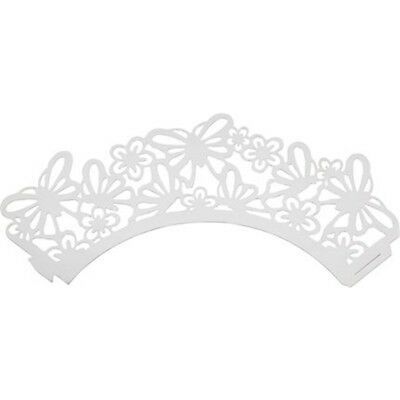 Pack Of 12 Sweetly Does It Butterfly Filigree Paper Cake Wraps - Cup x