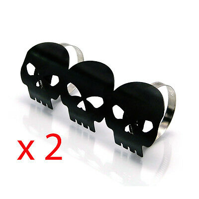 2 x Black Skull Metal Exhaust Heat Shields Guards for Motorbike Motorcycle Trike