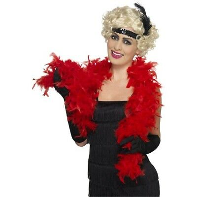 150cm Red Fancy Dress Feather Boa Accessory - 20s Flapper Costume 1920s Party