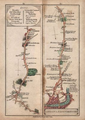 Southwark-Stockwell-Brixton-Streatham & Tonbridge-Tunbridge Wells. CARY 1801 map