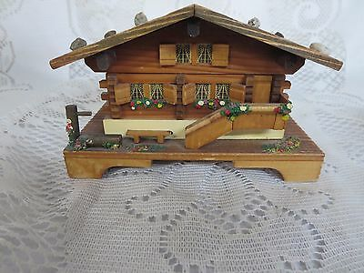 "Vintage Reuge Swiss Chalet Cabin Music Box ""Around the World"""