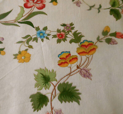 Vintage French Indienne Floral Linen Fabric ~Yellow Pink Blue Green Lavender