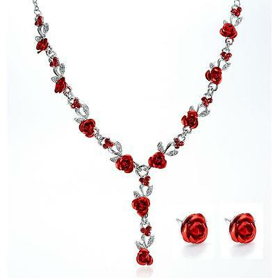 Valentines Wedding Bridal Rose Flower Crystal Necklace Earrings Jewelry Set Gift